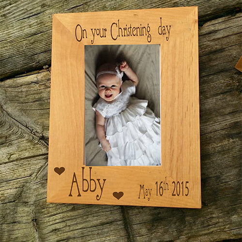 Engraved Christening Frame