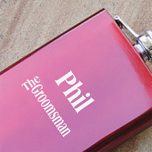 Engraved Groomsman Red Hip Flask