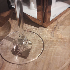 Silver Mirror Engraved Wine Charm