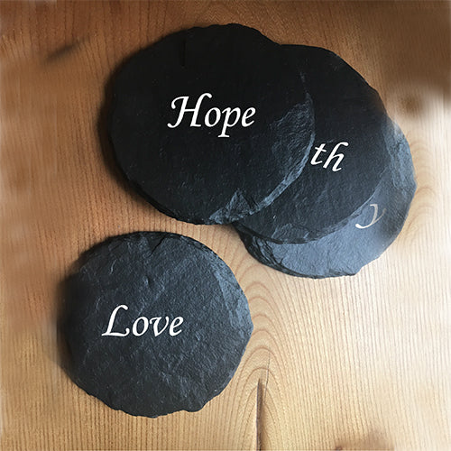 Coasters Engraved Coaster Love Faith Hope Charity Engraved Coasters Personalised Coasters Slate Gifts Engraved Slate