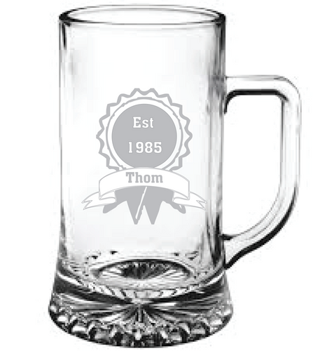 Personalised Beer Tankard Engraved Beer Tankard Birthday Beer Glass Any Message Here Beer Tankard Birthday Gift for Dad Engraved Established Birthday Beer Glass Customised Beer Tankard Gifts for Men Birthday Gift for New Dad
