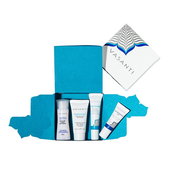 Vasanti 4-Step Skincare Travel Kit Box on white background