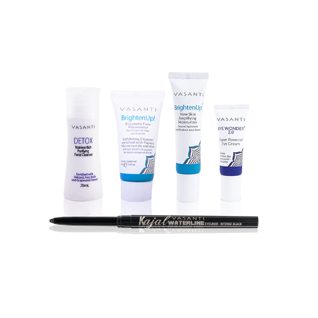 4-Step Skincare Kit &  Kajal Waterline Intense Black