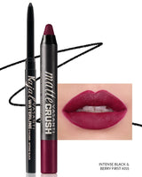 Vasanti Kajal Waterline Eyeliner Black with swatch and Vasanti Matte Crush Lipstick Pencil with lip swatch shade Berry First Kiss - Front Shot