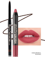 Vasanti Kajal Waterline Eyeliner Hazel Brown with swatch and Vasanti Matte Crush Lipstick Pencil with lip swatch shade Blushing - Front Shot