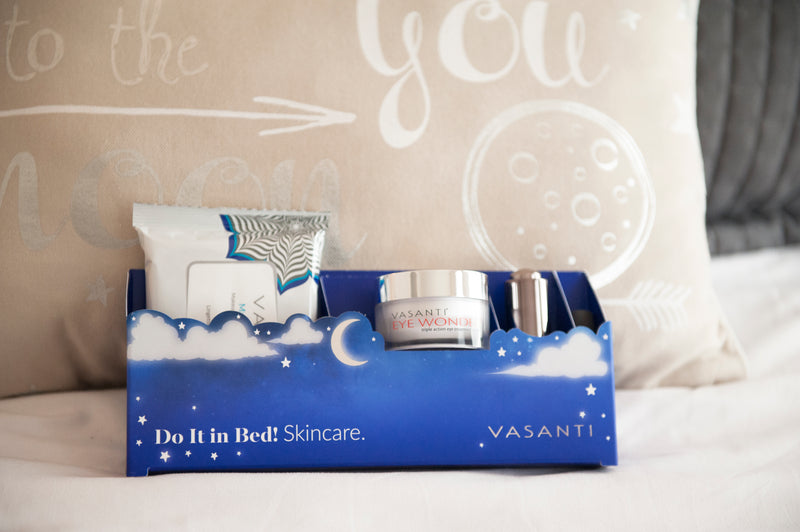 Vasanti Do it in Bed Skincare - Nighttime Skincare Routine in a box - Lifestyle shot