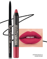 Vasanti Kajal Waterline Eyeliner Black with swatch and Vasanti Matte Crush Lipstick Pencil with lip swatch shade Dozen Roses - Front Shot