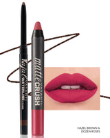 Vasanti Kajal Waterline Eyeliner Hazel Brown with swatch and Vasanti Matte Crush Lipstick Pencil with lip swatch shade Dozen Roses - Front Shot