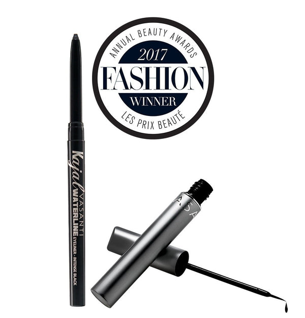 Vasanti Kajal Waterline Eyeliner Black with badge and Vasanti Cleopatra Liquid Eyeliner - Front Shot