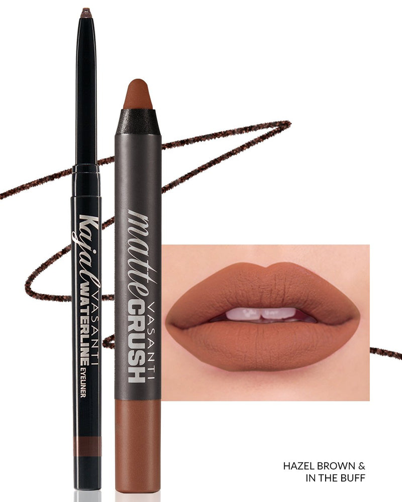 Vasanti Kajal Waterline Eyeliner Hazel Brown with swatch and Vasanti Matte Crush Lipstick Pencil with lip swatch shade In The Buff - Front Shot