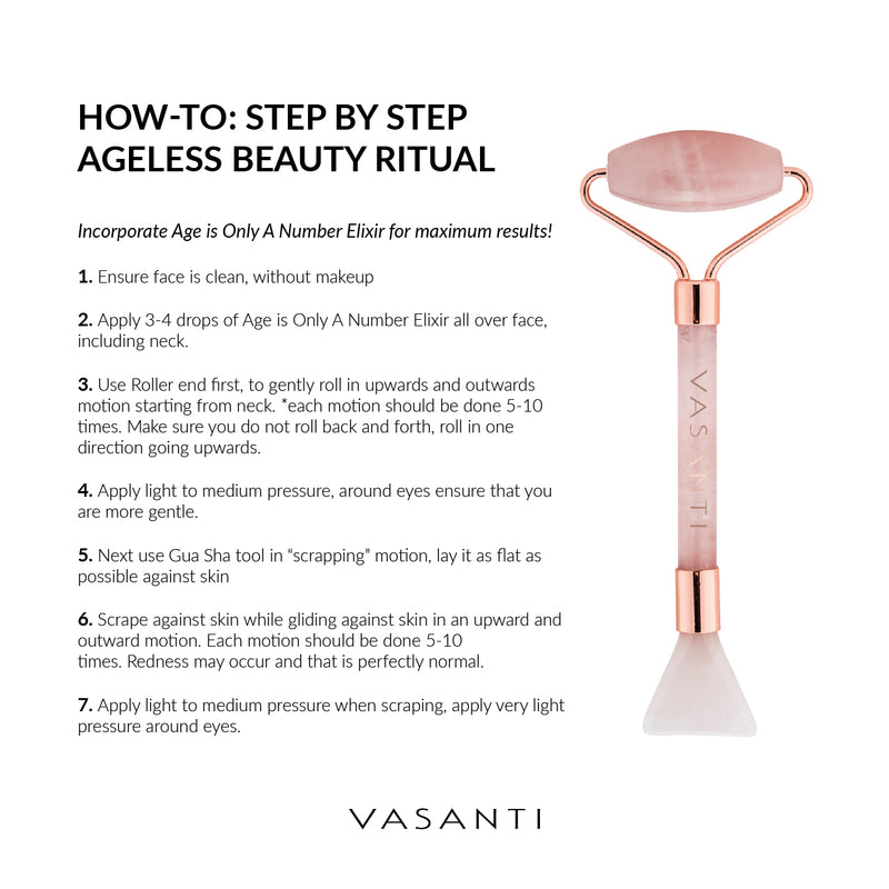 Age is Only a Number Elixir + Rose Quartz Roller & Gua Sha Tool