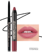 Vasanti Kajal Waterline Eyeliner Black with swatch and Vasanti Matte Crush Lipstick Pencil with lip swatch shade It's Your Mauve - Front Shot
