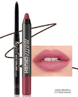 Vasanti Kajal Waterline Eyeliner Hazel Brown with swatch and Vasanti Matte Crush Lipstick Pencil with lip swatch shade It's Your Mauve - Front Shot