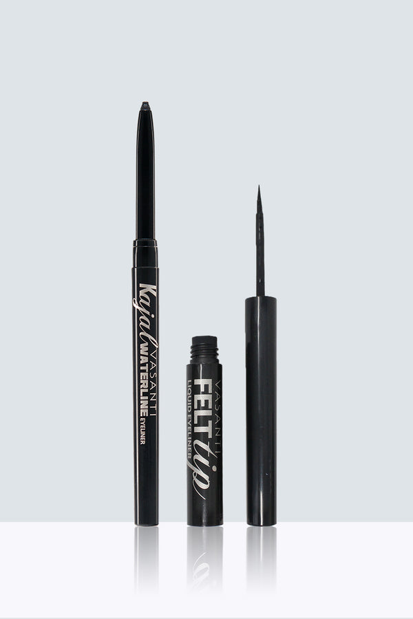 Vasanti Kajal Waterline Eyeliner and Vasanti Felt Tip Liquid Eyeliner Kit - Front Shot