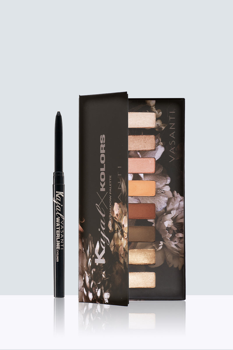 Vasanti Kajal Waterline Eyeliner and Vasanti Kajal X Kolors Eyeshadow Palette Kit - Front Shot