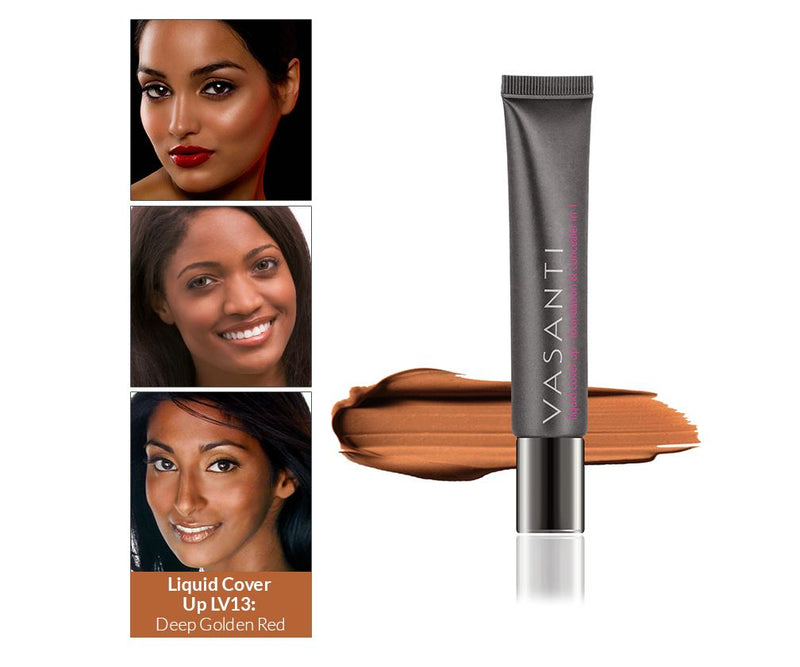 Vasanti Cover Up Foundation and Concealer in 1 - Shade LV13 Deep Golden Red - Front shot with swatch