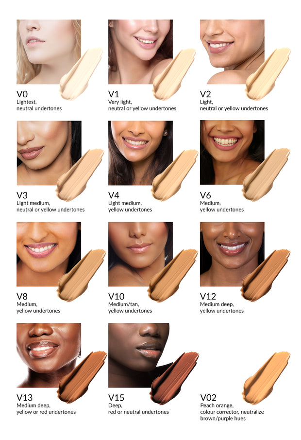 Vasanti Cover Up Foundation and Concealer in 1 - Shades colour chart