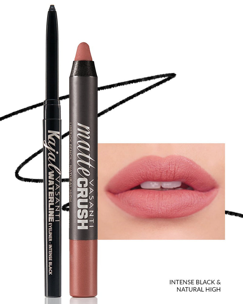 Vasanti Kajal Waterline Eyeliner Black with swatch and Vasanti Matte Crush Lipstick Pencil with lip swatch shade Natural High - Front Shot