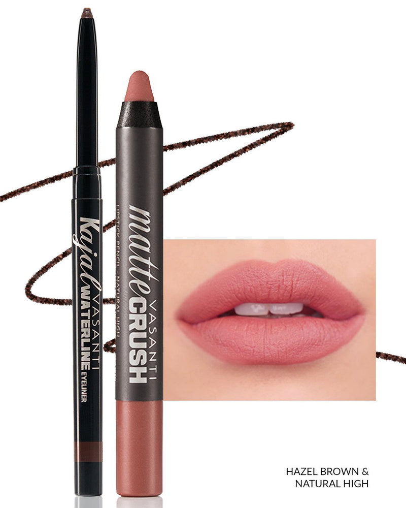 Vasanti Kajal Waterline Eyeliner Hazel Brown with swatch and Vasanti Matte Crush Lipstick Pencil with lip swatch shade Natural High - Front Shot