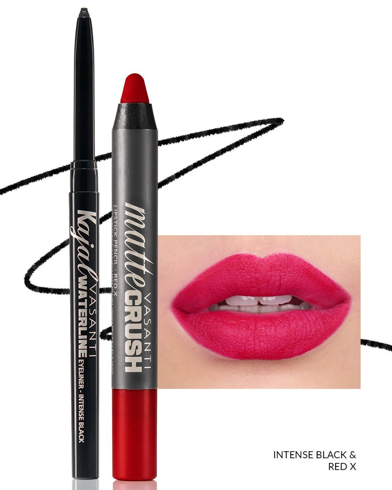 Vasanti Kajal Waterline Eyeliner Black with swatch and Vasanti Matte Crush Lipstick Pencil with lip swatch shade Red X - Front Shot