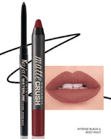 Vasanti Kajal Waterline Eyeliner Black with swatch and Vasanti Matte Crush Lipstick Pencil with lip swatch shade Rosy Pout - Front Shot