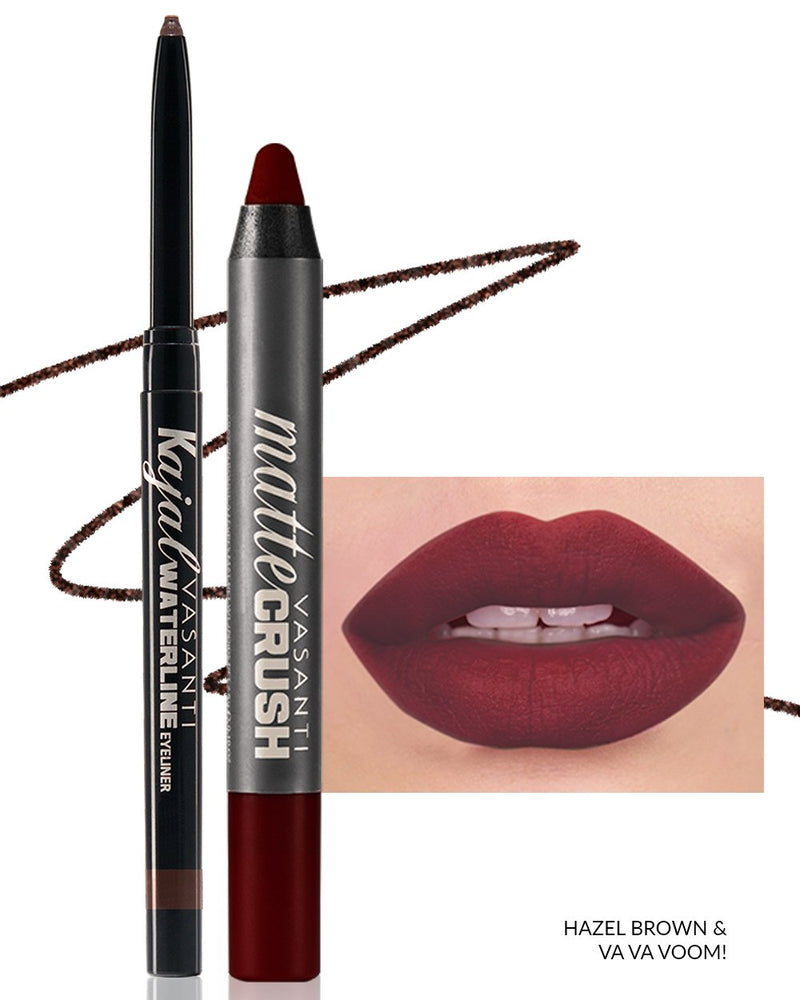 Vasanti Kajal Waterline Eyeliner Hazel Brown with swatch and Vasanti Matte Crush Lipstick Pencil with lip swatch shade Va Va Voom - Front Shot