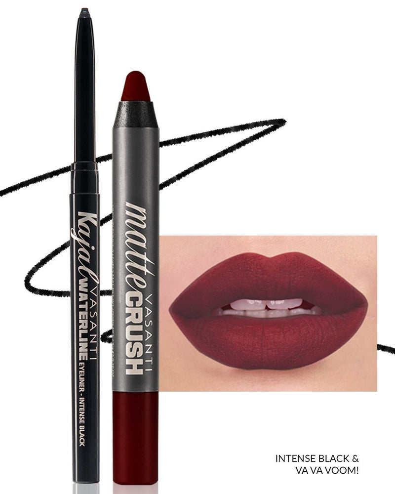 Vasanti Kajal Waterline Eyeliner black with swatch and Vasanti Matte Crush Lipstick Pencil with lip swatch shade Va Va Voom - Front Shot