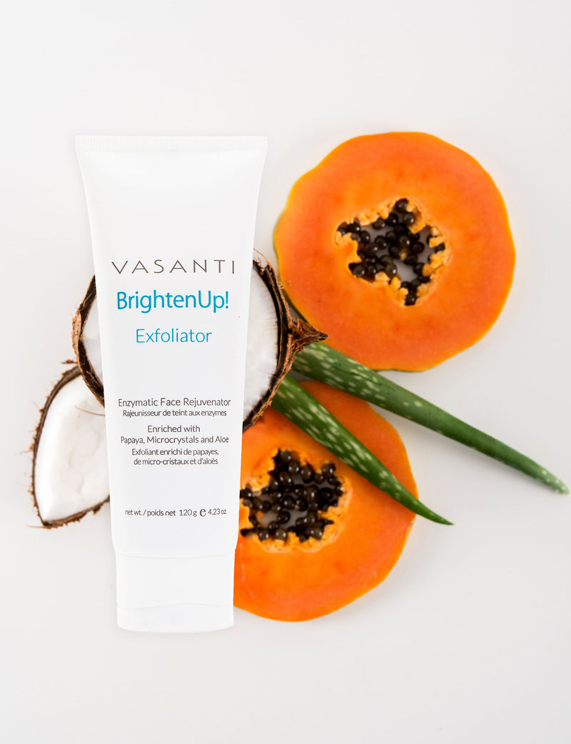 Vasanti Brighten Up! Exfoliator Lifestyle shot - with papaya, aloe vera and coconut