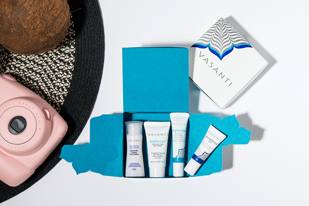 Vasanti 4-Step Skincare Travel Kit Box - Lifestyle Shot