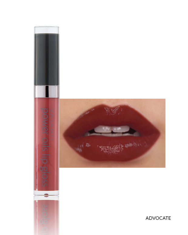 Vasanti Power Oils Lip Gloss - Shade Advocate lip swatch and product front shot
