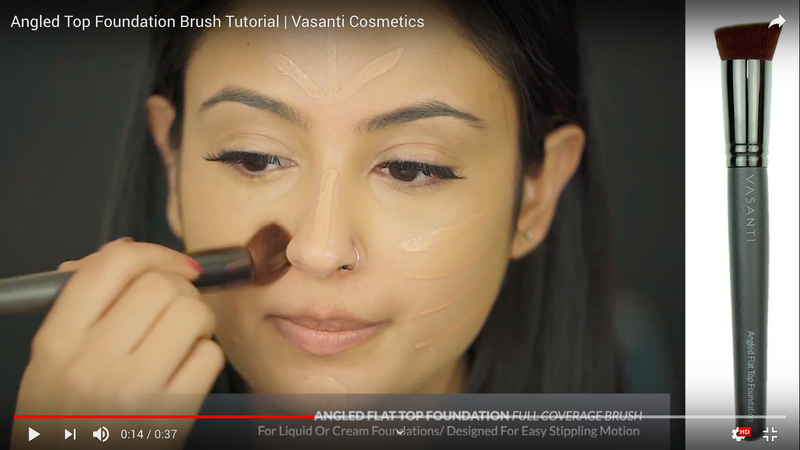 Vasanti Angled Flat Top Foundation - Full Coverage brush - Screenshot from Youtube video