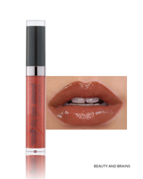Vasanti Power Oils Lip Gloss - Shade Beauty and Brains lip swatch and product front shot