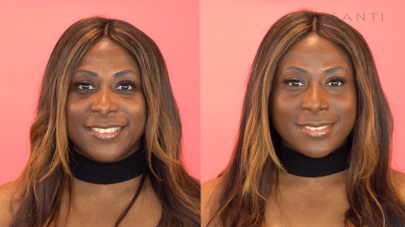 Model wearing Vasanti Face Base Powder Foundation - Before and after comparison