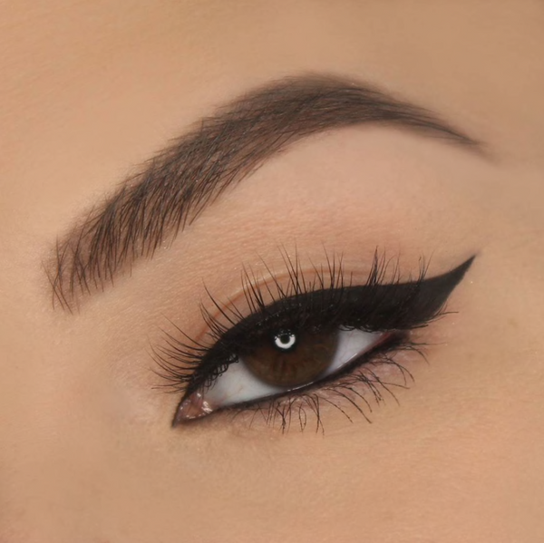 Close up shot of an eye wearing Vasanti Cleopatra Black Liquid Eyeliner