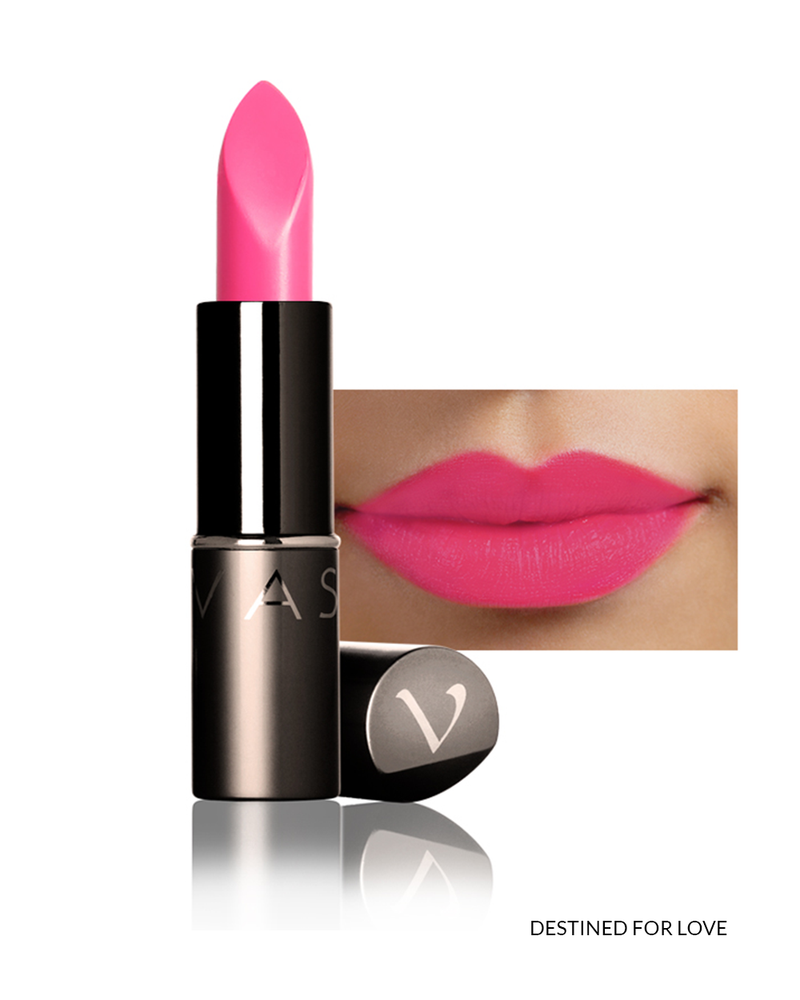 Vasanti Love Brights Gel Matte Lipstick - Shade Destined For Love with lip swatch and product front shot