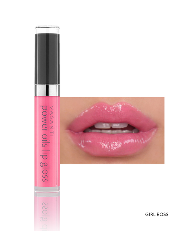 Vasanti Power Oils Lip Gloss - Shade Girl Boss lip swatch and product front shot