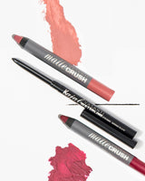 Vasanti Kajal Waterline Eyeliner and Vasanti Matte Crush Lipstick Pencil - with swatch lifestyle shot