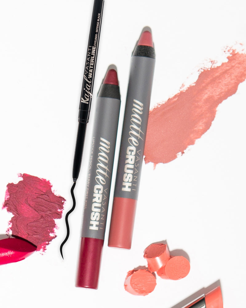 Vasanti Kajal Waterline Eyeliner and Vasanti Matte Crush Lipstick Pencil - Lifestyle Shot