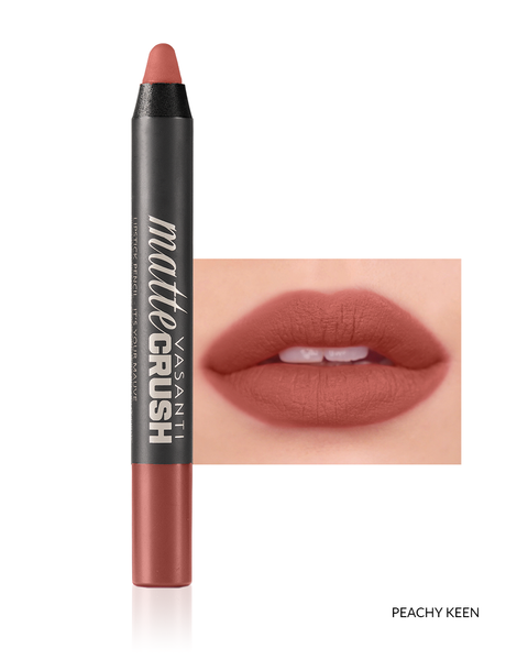 Vasanti Matte Crush Lipstick Pencil - Shade Peachy Keen with lip swatch and product front shot