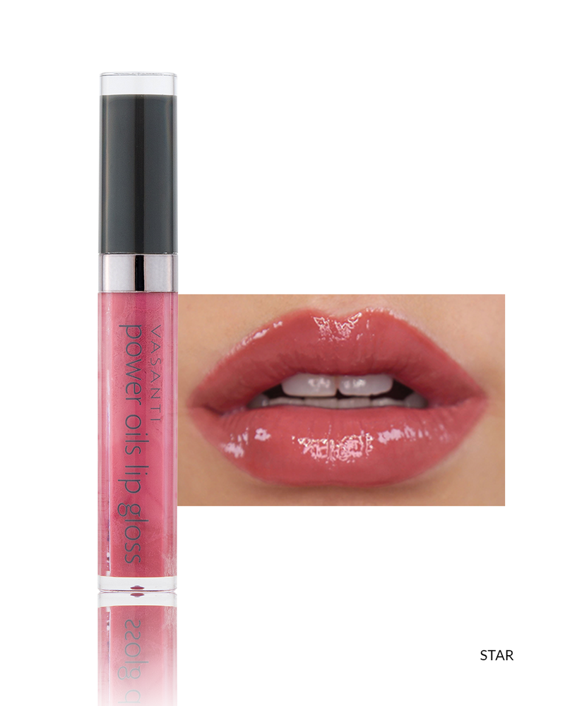 Vasanti Power Oils Lip Gloss - Shade Star lip swatch and product front shot