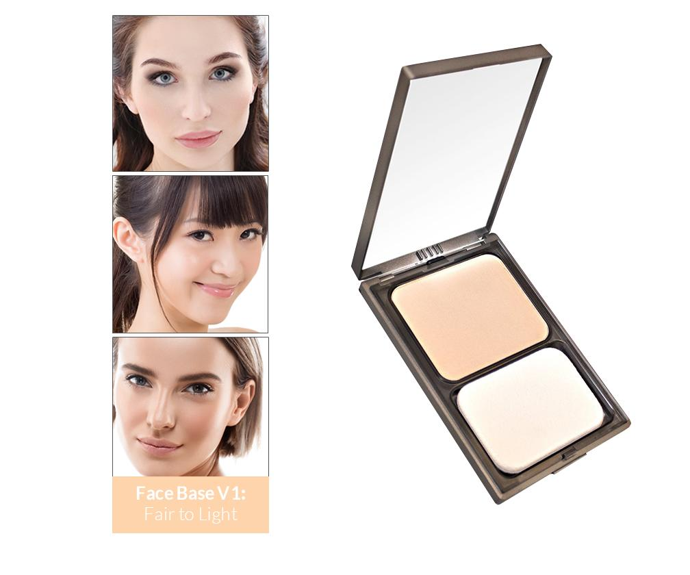 Vasanti Face Base Powder Foundation - Shade V1 Fair to Light - Front shot with swatch