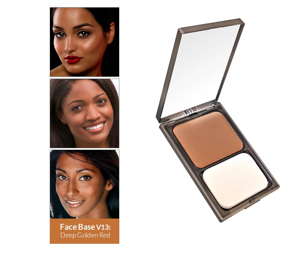Vasanti Face Base Powder Foundation - Shade V13 Deep Golden Red - Front shot with swatch