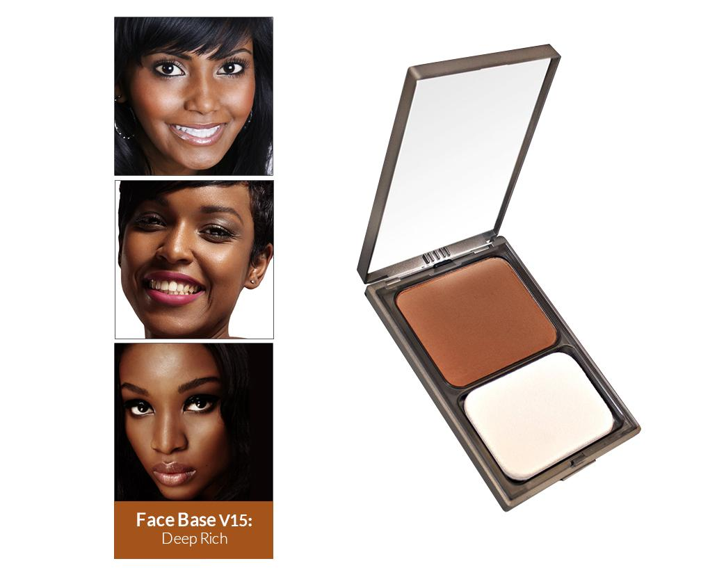 Vasanti Face Base Powder Foundation - Shade V15 Deep Rich - Front shot with swatch