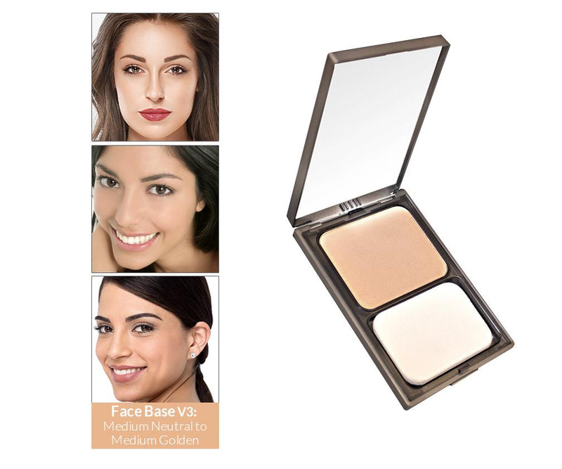 Vasanti Face Base Powder Foundation - Shade V3 Medium Neutral to Medium Golden - with front shot and swatch