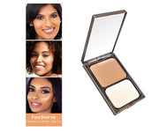 Vasanti Face Base Powder Foundation - Shade V8 Medium Deep Warm - Front shot with swatch