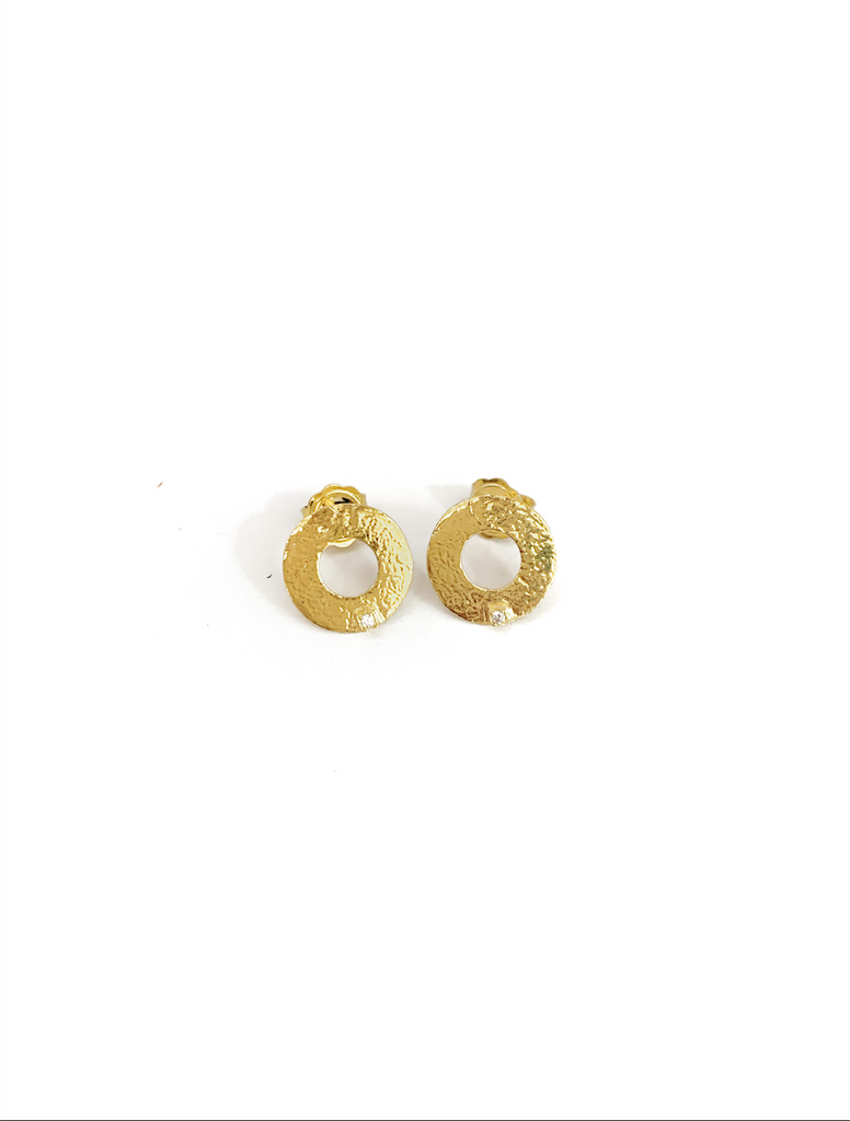 Circle with Zirconia Detail Earrings (925 Silver)