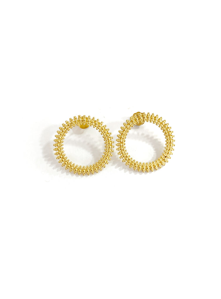 Doted Detailed Circle Earrings (925 Silver)