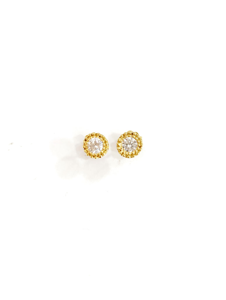 Circled Zirconia Detail Earrings (925 Silver)
