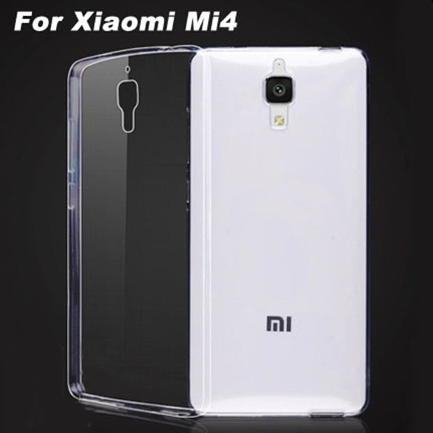 0.5mm For Xiaomi 4 Case Cover Ultrathin Transparent TPU Soft Cover Protective Case For Mi4 Xiaomi4 Back Cover Bags