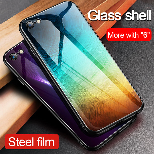 1 Pcs Luxury Glass Phone Case For IPhone 6 6s 7 8 Plus Tempered Glass Hard Back Cover Case For Iphone X Xs Max XR Phone Shell